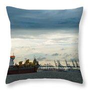 Felixstowe Docks Throw Pillow