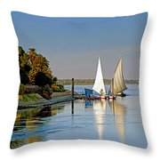Feluccas On The Nile Throw Pillow