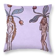 Female And Male Mandrake, Alchemy Plant Throw Pillow
