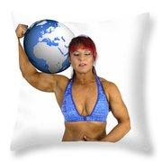 Female Atlas Throw Pillow