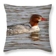 Female Common Merganser Throw Pillow