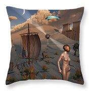 Female Explorers Study Ancient Egyptian Throw Pillow