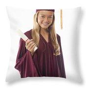 Female Graduate II Throw Pillow