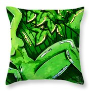 Female On A Mardi Gras Float Painted Throw Pillow