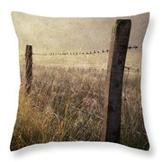Fence And Field. Trossachs National Park. Scotland Throw Pillow