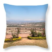Fence And Garden Overlooking A Beautiful Vista Of Valley And Snow-capped Mountains Throw Pillow