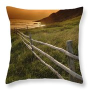 Fence And Sunset, Gooseberry Cove Throw Pillow