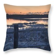 Fence By Lake At Sunset Throw Pillow