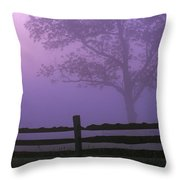 Fenceline Silhouette With Tree Throw Pillow