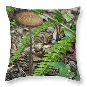 Fern Frond And Mushroom 5 Throw Pillow