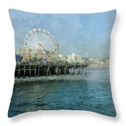 Ferris Wheel On The Santa Monica Pier Throw Pillow