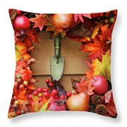 Festive Autumn Wreath Throw Pillow