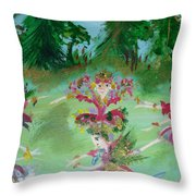 Festive Fairies Throw Pillow