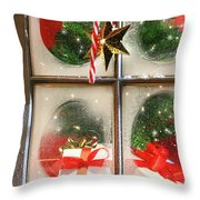 Festive Holiday Window Throw Pillow