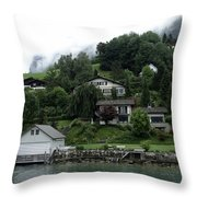 Few Houses On The Slope Of Mountain Next To Lake Lucerne In Switzerland Throw Pillow