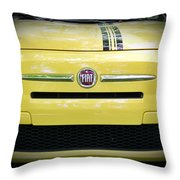 Fiat 500 Yellow With Racing Stripe Throw Pillow