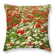 Field Of Daisies And Poppies. Throw Pillow