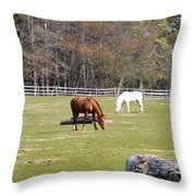 Field Of Horses Throw Pillow