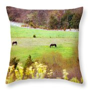 Field Of My Dreams Horses Throw Pillow