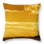 Field With Combine At Sunset Throw Pillow