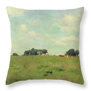 Field With Trees And Sky Throw Pillow