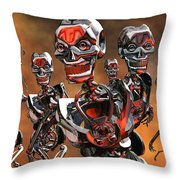 Fierce Androids Riot The City Of Tokyo Throw Pillow