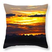 Fiery Sunrise Over The Cascade Mountains Throw Pillow