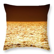 Fiery Sunset Over The Sea Throw Pillow