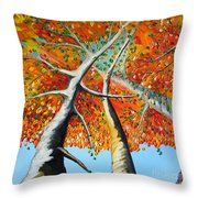Fiery Trees Throw Pillow
