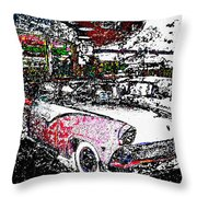 Fifties Drive In Throw Pillow