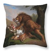 Fight Of A Lion With A Tige Throw Pillow