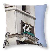 Fighting Goats Of Posnan Poland Throw Pillow