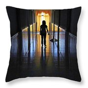 Figure In The Corridor Throw Pillow