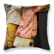 Figurines In Rural Dresses Throw Pillow