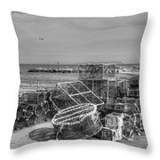 Fiishing Nets At Mudeford Quay Throw Pillow