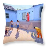Filling Water Buckets Throw Pillow
