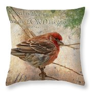 Finch Greeting Card With Verse Throw Pillow