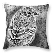 Finch Grungy Black And White Throw Pillow