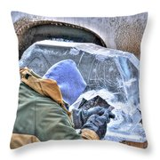 Fine Tuning Buffalo At Winter Fest Throw Pillow