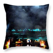 Fire Earth Water Meet Lasers Throw Pillow