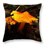 Fire In The Forest - Hygrocybe Cuspidata Throw Pillow