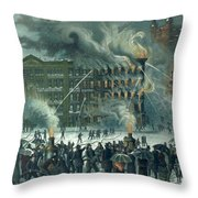 Fire In The New York World Building Throw Pillow by American School