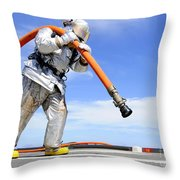 Firefighter Carries A Charged Hose Throw Pillow