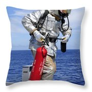 Firefighter Carries A Co2 Fire Throw Pillow