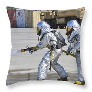 Firefighters Execute Fire Containment Throw Pillow