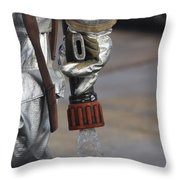 Firefighting Marine Tests His Hand Line Throw Pillow