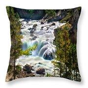 Firehole River Falls Throw Pillow