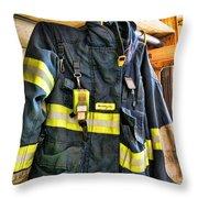 Fireman - Saftey Jacket Throw Pillow
