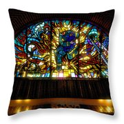 Fireman's Hall Stained Glass Throw Pillow