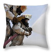 Firemen Learn How To Effectively Work Throw Pillow